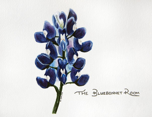 watercolor painting of bluebonnet and The Bluebonnet Room in script
