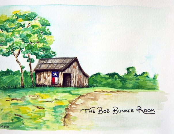 watercolor painting of barn landscape with painted Texas flag on side and Bob Bunker Room in script