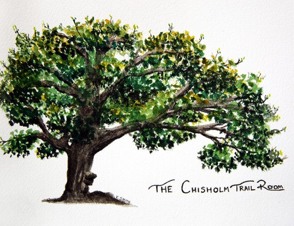 watercolor painting of oak tree and The Chisholm Trail Room in script