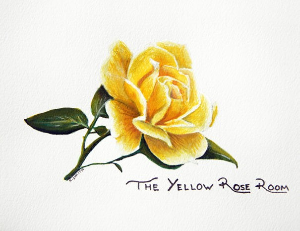 watercolor painting of a yellow rose and The Yellow Rose Room in script