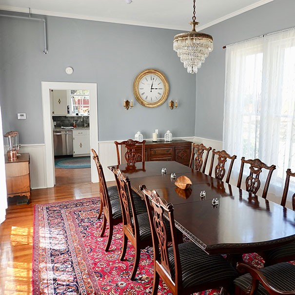 dining table in Bryn Oaks dining room